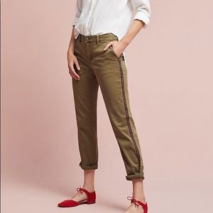 Anthropologie relaxed striped chino green 28